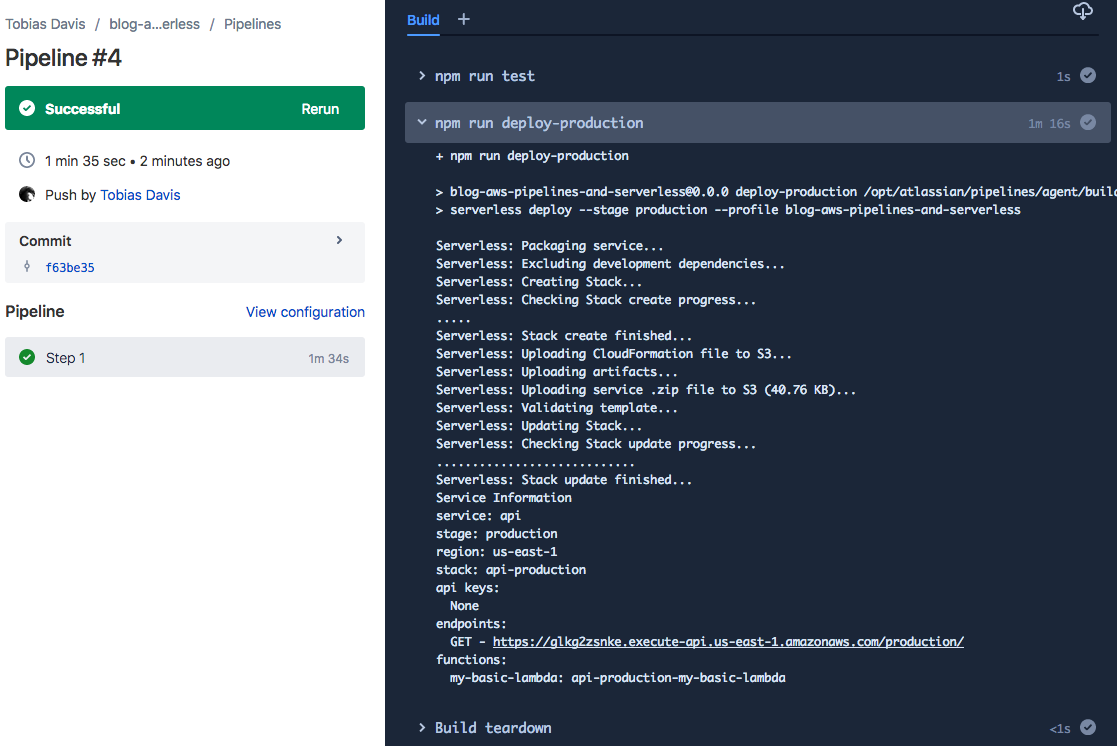 Push to AWS with Bitbucket Pipelines and serverless